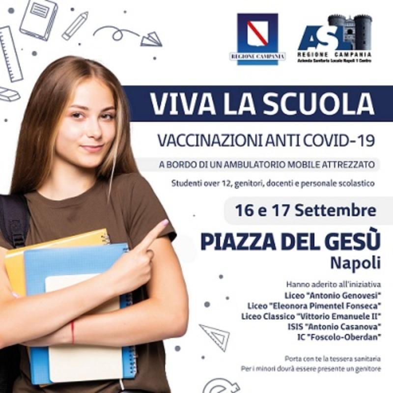 Vaccinazione Covid 19 per studenti over 12, docenti e personale scolastico