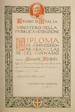 Diploma di ammissione alla IV classe del ginnasio (1925).