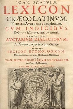 Il lessico greco-latino dello Scapola